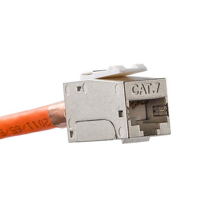 Premium Quality - CAT.7 Full Shielded Keystone Jack RJ45 To LSA, Tool-free Connection, Compatible For Cat.6A/Cat.6 Systems