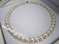 Baroque 18 13x11 MM SOUTH SEA NATURAL White PEARL NECKLACE GOLD CLASP> jewerly free shipping