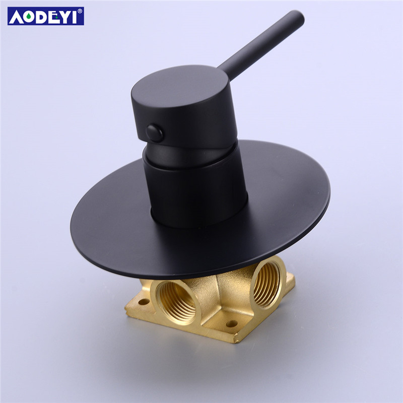 AODEYI Brass Black Hand Held Shower Set Bathroom Shower Diverter Mixer Valve And Shower Holder Hose Water Saving Shower Heads in Shower Heads from Home Improvement
