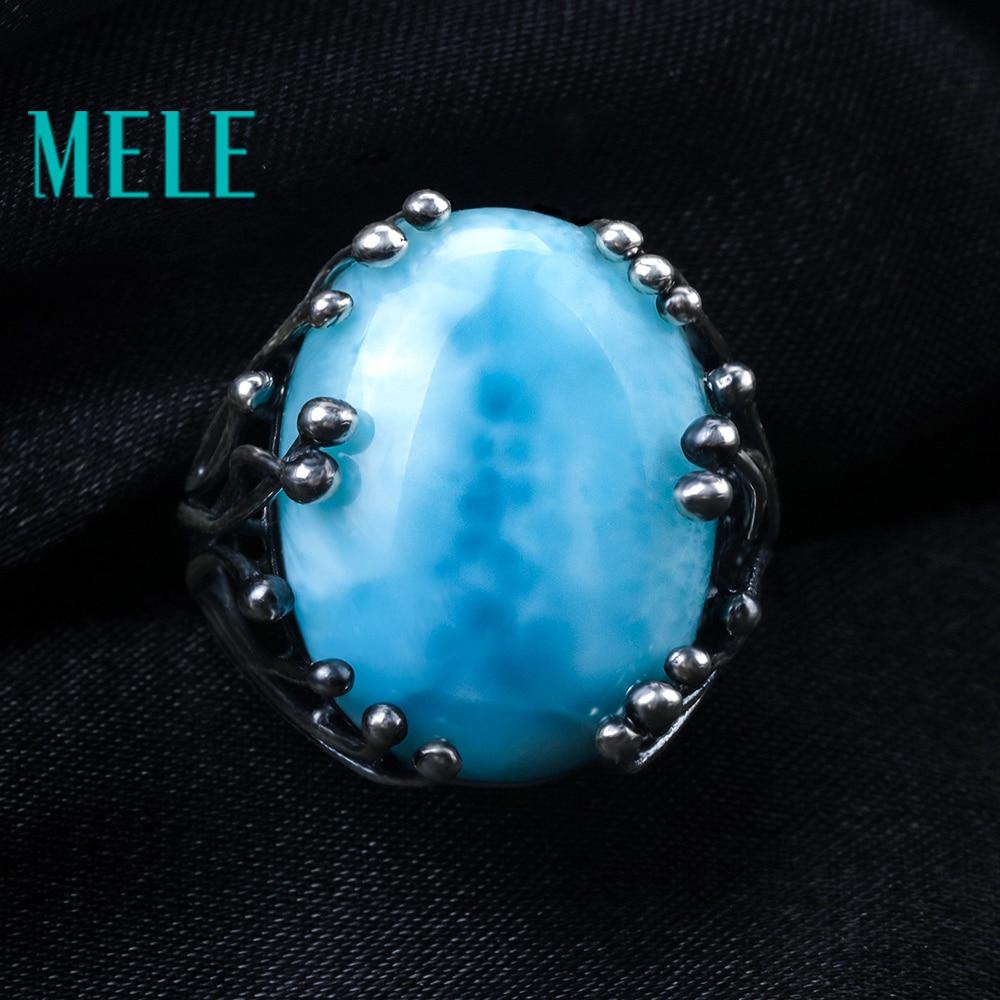 Natuurlijke larimar zilveren ring, ovaal 15mm * 20mm, blauwe steen en - Fijne sieraden - Foto 2
