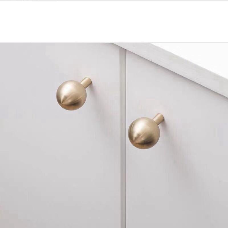 Матовый латунный ящик шкафа кухонные ручки золотой шар формы шкаф двери мебель Pulls-4Pack