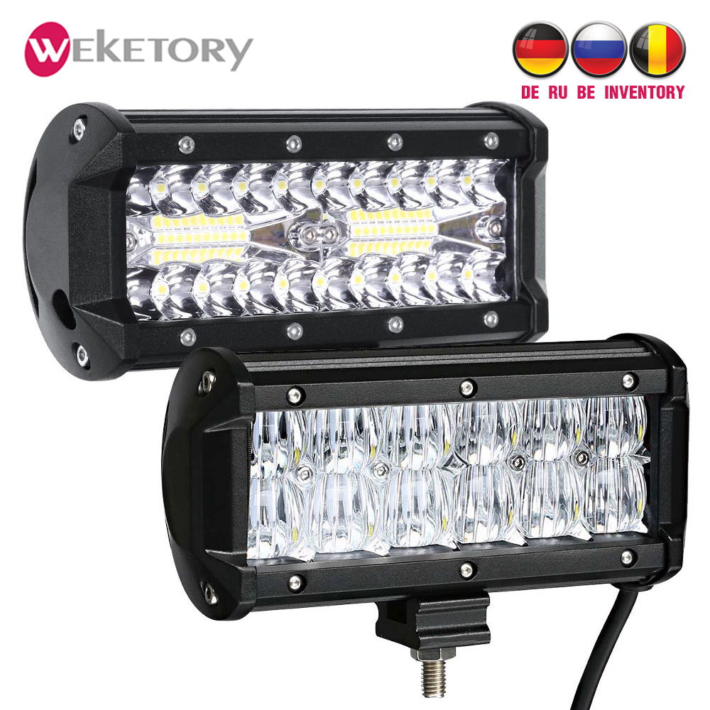 Weketory 7 pulgadas LED Barra de trabajo LED barra de luz para Tractor Boat OffRoad 4WD 4x4 camión SUV ATV conducción 12 V LED barra de luz