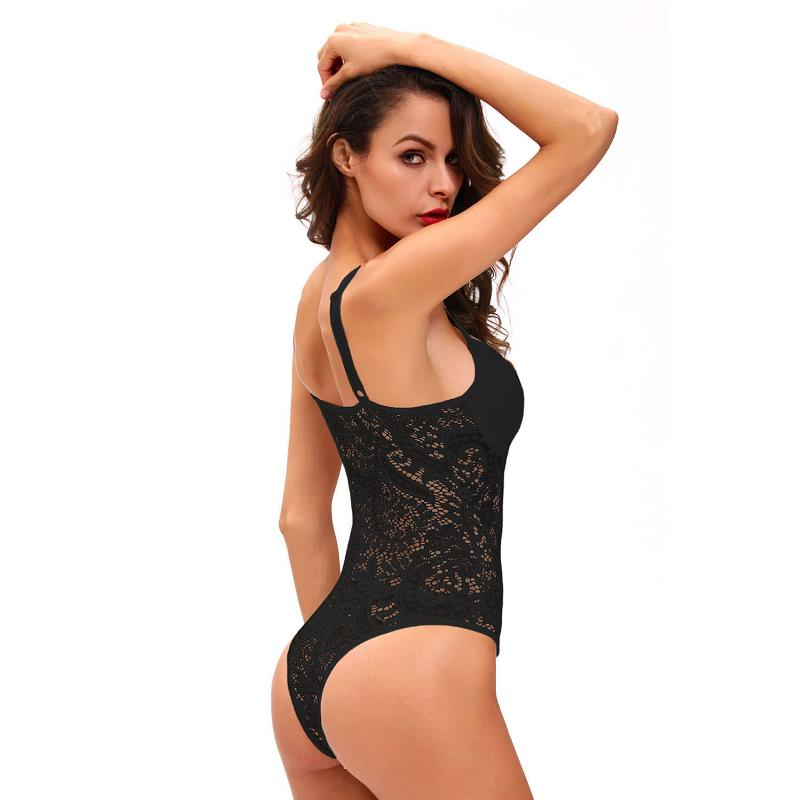 ADEWEL Sexy Women Spaghetti Strap Lace Bodysuit See Through Skinny Body Jumpsuit Ladies Romper Combinaison Shorts Playsuits (1)