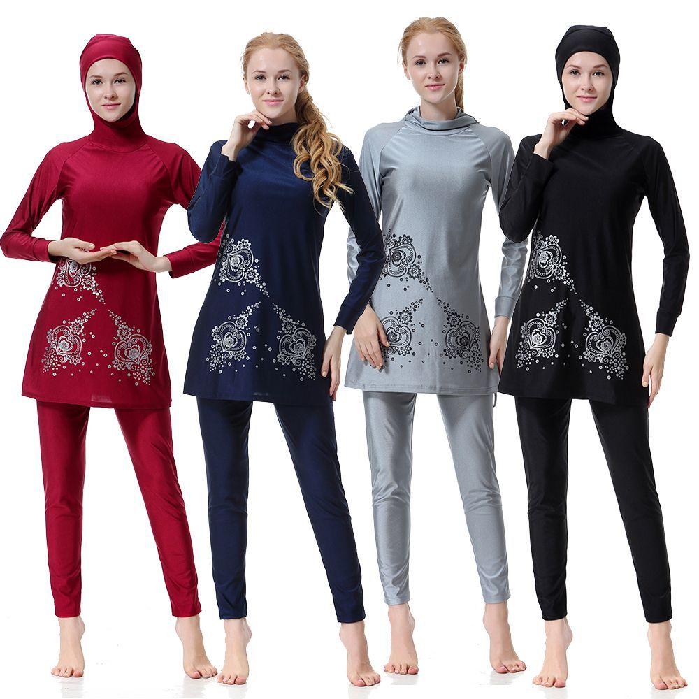 US $27 12 49% OFF|2018 Women islam turkey muslim conservative swimsuit  female swimwear long sleeve bathing suit girls swimming wear surfing  suit-in