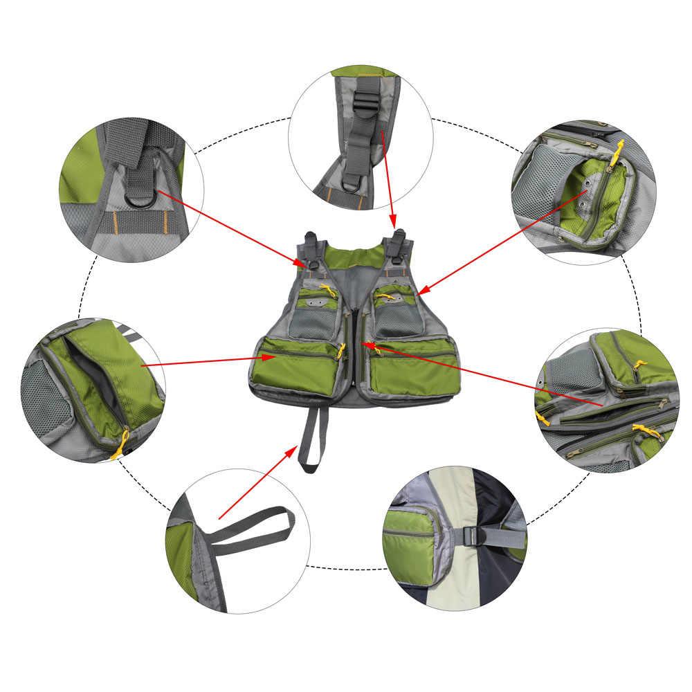 JSM армейский зеленый рыболовный жилет регулируемый размер многофункциональный Mutil-Pocket mesh открытый жилет для нахлыстовой рыбалки для рыболовного оборудования