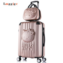 Hello Kitty Cartoon 20″24inch Luggage,Relief ABS Nniversal wheels KT Suitcase set,woman child kit Travel Bag,Lovely Trolley Case
