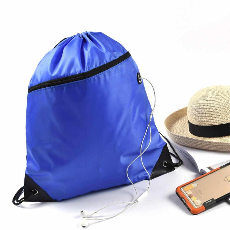 للماء الرباط على ظهره الصلبة سستة الغبار حقائب نايلون حقائب أحذية الرياضة السفر حقيبة للظهر برباط