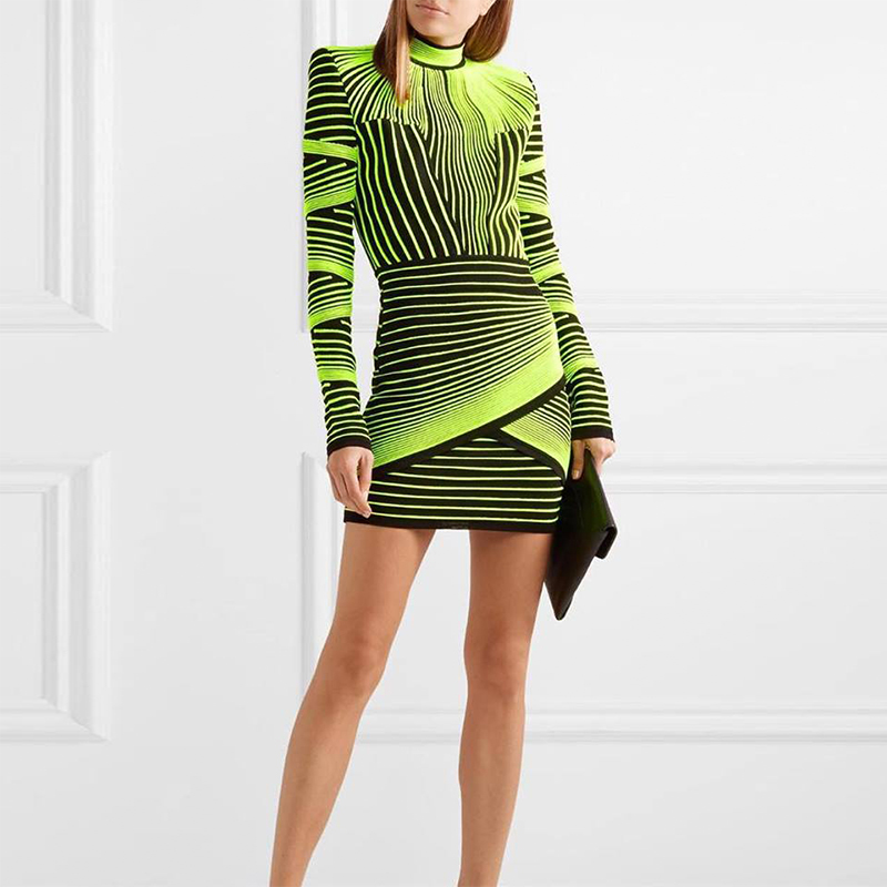Ocstrade Women Spring High Quality Vestidos Bandage Dress 2019 Runway Fluorescent Green Jacquard Rayon Long Sleeve