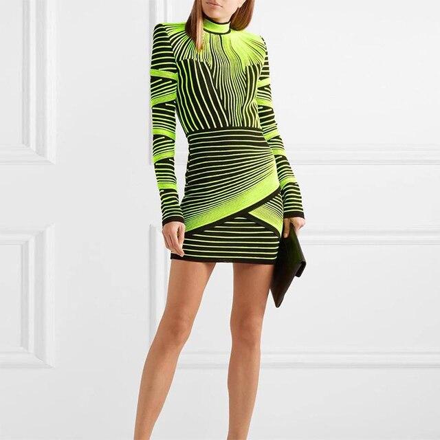 Ocstrade Women Spring High Quality Vestidos Bandage Dress 2019 Runway Fluorescent Green Jacquard Rayon Long Sleeve Bandage Dress