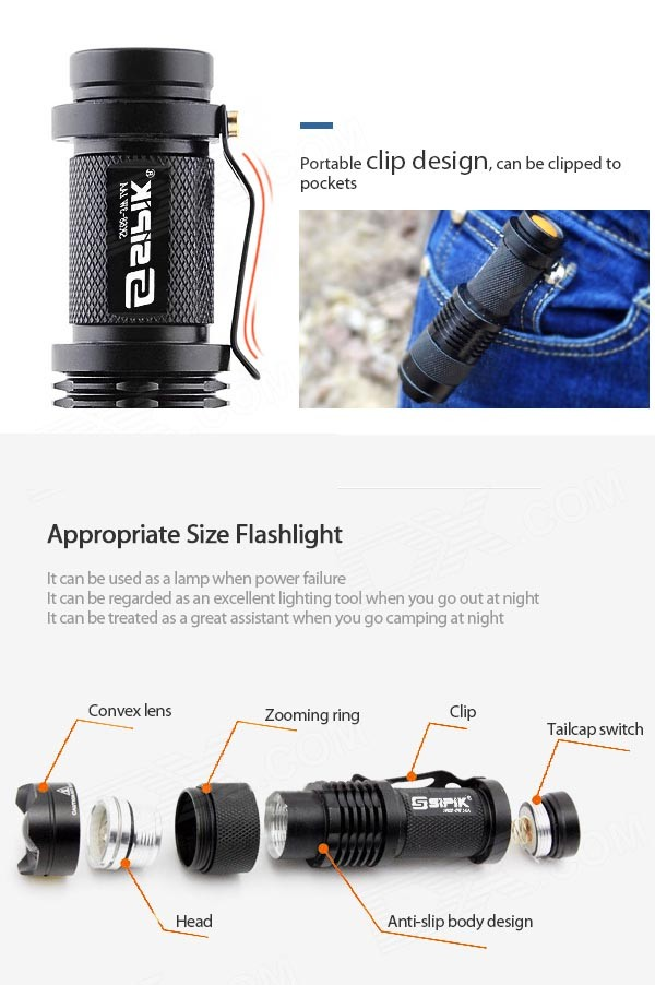 Купить с кэшбэком SIPIK SK68 1-Mode White light XR-E Q5 LED Bulb Lamp Zooming led Flashlight Pocket mini Torch lantern(1 x 14500/AA)