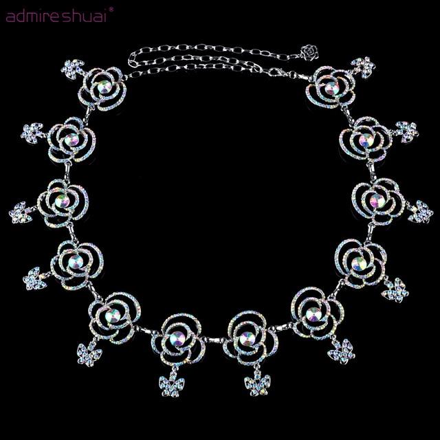 Luxo Borboleta Flor de Strass Cinto de Corrente de Prata Banhado A Designer de Cintos De Metal Mulheres Cintura Barriga Cinto femininos cinture BL-833