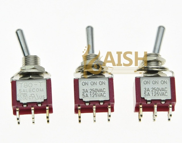 KAISH 5x DPDT 6 Pin 3 Way ONONON Guitar Mini Toggle Switch SALECOM