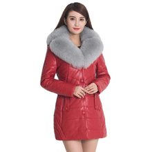 New 2016 Winter Jacket Women Large Fur Collar Leather Cotton Padded Jacket Medium Long Slim Thick Outwear Coats Plus Size PW0652