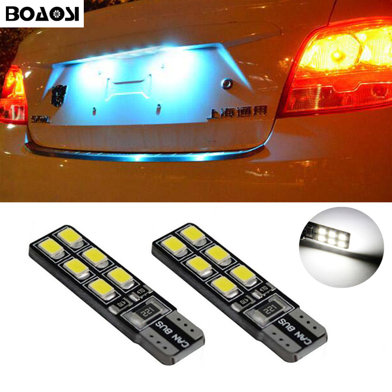 BOAOSI 2x LED T10 2835smd Canbus no error License Plate Light for Land Rover Discovery Range Rover Evoque Freelander Defender