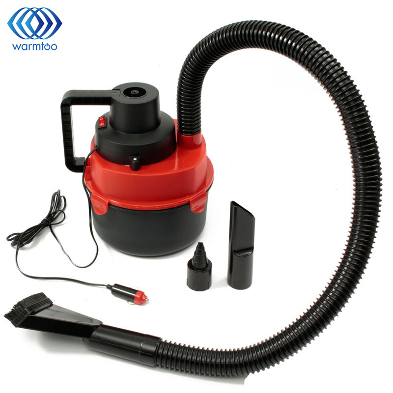 12V DC 90W Portable Wet Dry Canister Outdoor <font><b>Carpet</b></font> Car Boat Mini Vacuum Cleaner Air Inflating Pump Red