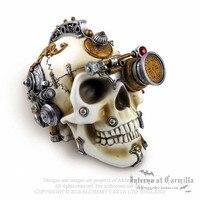 Алхимия хранилище V4 Erasmus Дарвина пара головного мозга смолы черепа украшения дома винный шкаф Гостиная подарок на Хэллоуин M873