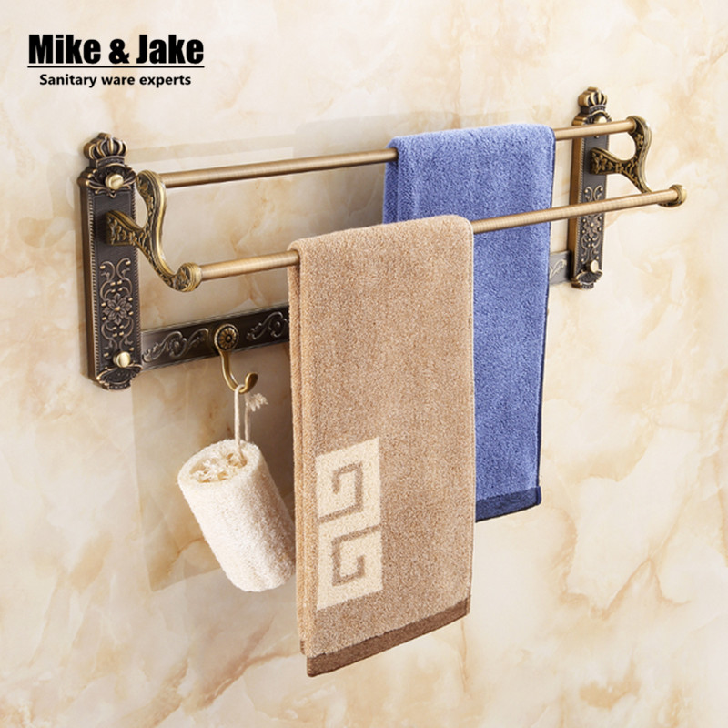 Antique Double Towel Bars towel Holder Towel rack Solid Brass vintage double bathroom towel holder Bathroom
