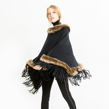 Womens Fashion Autumn and Winter The Shawl Collar Artificial Wool Warm Cape Pullover Sweater Coat