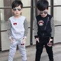 Primavera outono casacos crianças meninos set de manga comprida + calças crianças terno
