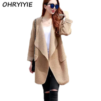 OHRYIYIE 2019 Autumn Winter Long Sweater Coat for Women Turn Down Formal Long Cardigans Oversized Coat Knit Camisola Pull Femme