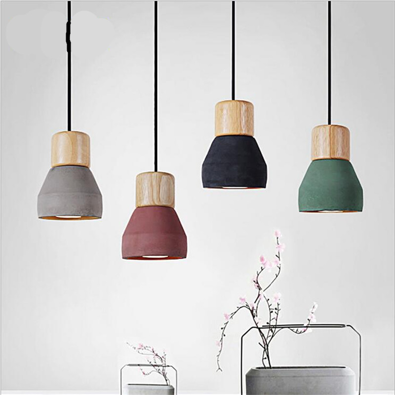 ФОТО Vintage Creative Fashion 4 Colors Cement Wood Led E27 Pendant Light For Dining Room Restaurant Bar AC 80-265V Dia 12.5cm 2151
