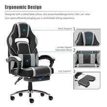 Leather Office Gaming Chair Racing with Footrest and Lumbar Cushion Reclining Working