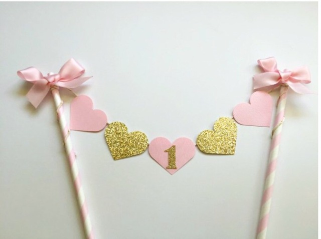New Pink And Gold Heart Cake TopperShabby Chic Smash Party Decorations 1st Birthday