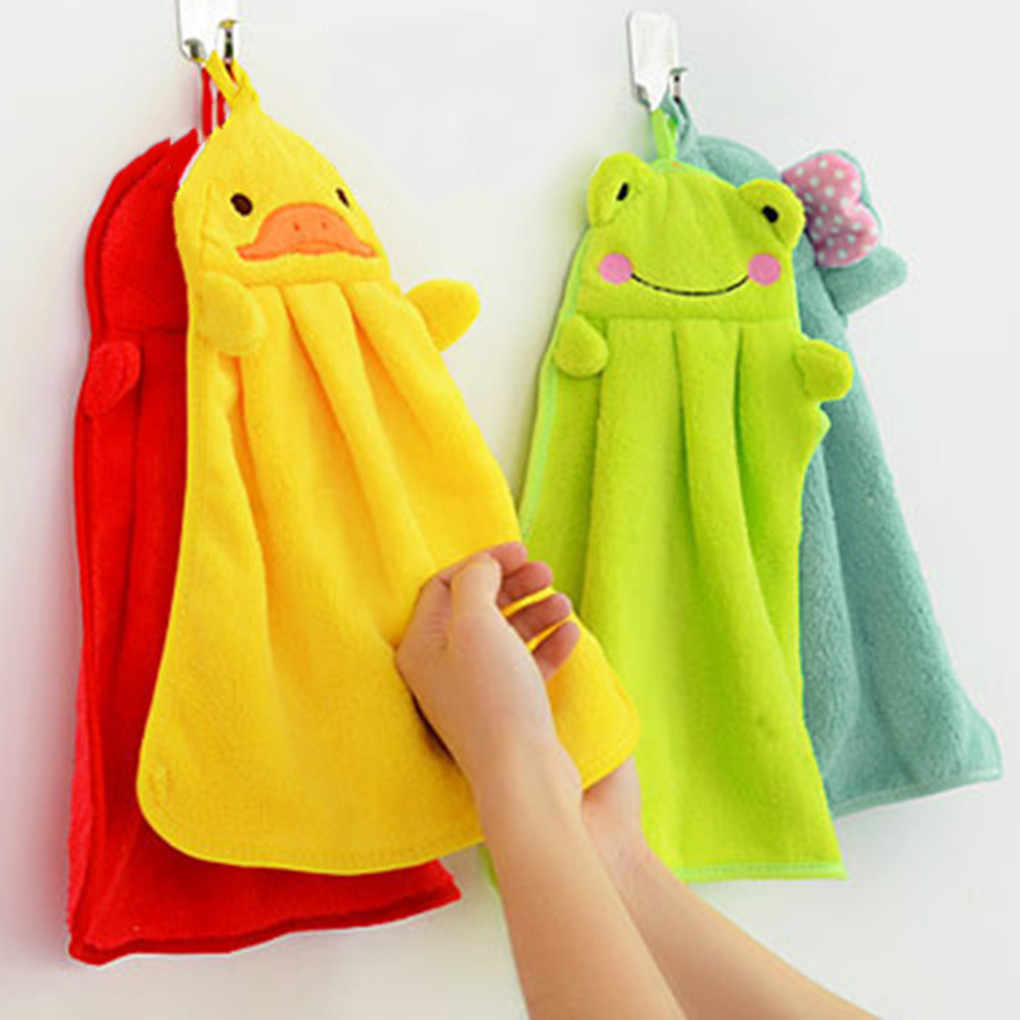 Comfortable Candy Colors Soft Coral Velvet Cartoon Animal Towel Can Be Hung Kitchen used