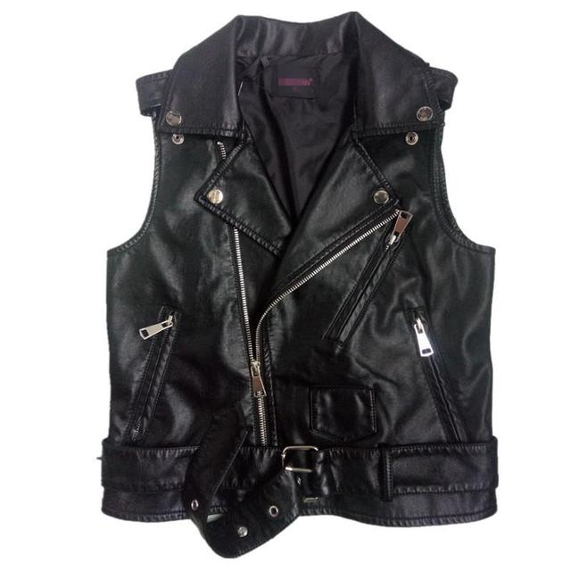 Plus Size Black Sleeveless Pu Women Leather Jackets Winter Jacket Pu Belt Veste Motorcycle Jacket Waistcoat Vest Rivet Vests