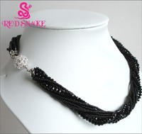 CZERWONY WĄŻ Marka produktu Czarny Kryształ Wielu Pasemka Biżuteria Łańcuszki Naszyjniki Klamry Magnetyczne Świetnie. rabaty!