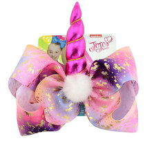 8''  Hair Bow Large Sequin Unicorn Cheer Bows Glitter Print Hair Bands For Girls Boutique Pompom Hair Clip Hair Accessories недорого