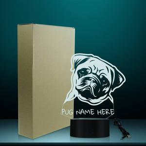 Image 5 - Nome personalizzato Pug Ritratto HA CONDOTTO LA Luce di Notte Pug Dog 3D LED Illusion Kid Camera Lampada Da Tavolo Con Cambiamenti di Colore Del Cane gli amanti del Regalo Memoriale