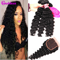 Indian Deep Wave With Closure 3 Bundles Deep Wave Virgin Hair With Closure 7A Unprocessed Indian Human Hair Bundles With Closure