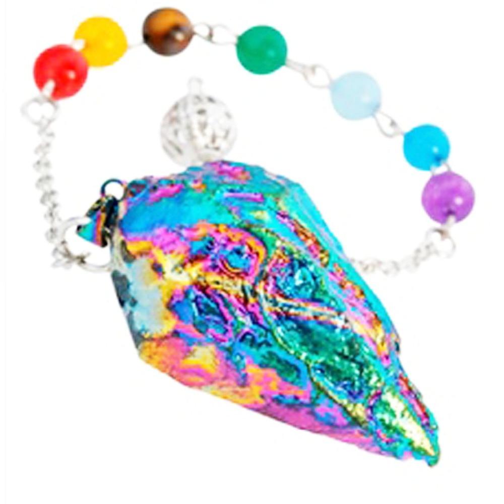 Rainbow Titanium Crystal Quartz 7 Bead Chakra Pendulum Healing Reiki Dowsing Divination