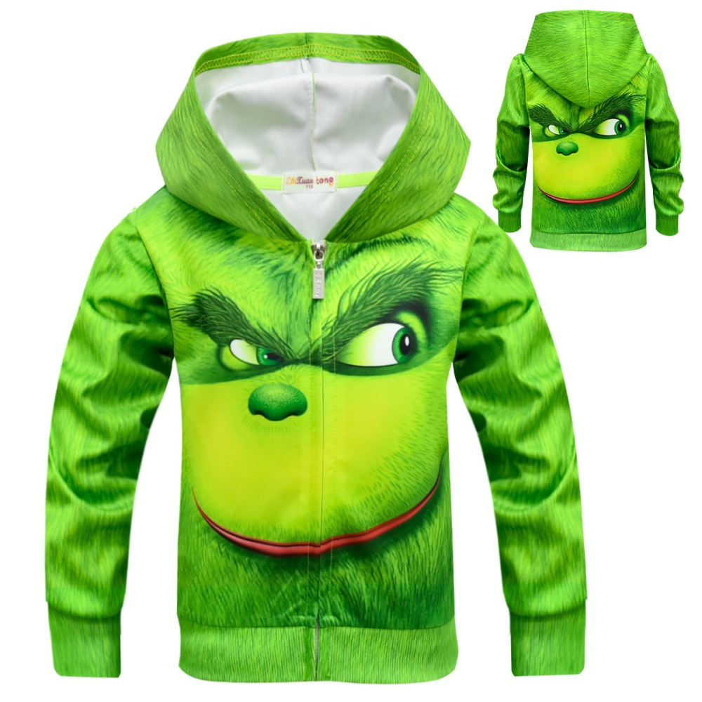 Grinch Cosplay Costumes GRINCH FULL FACE Hoodies Grinch children's coat has a zippered top and hoodie kids boy girl Jackets