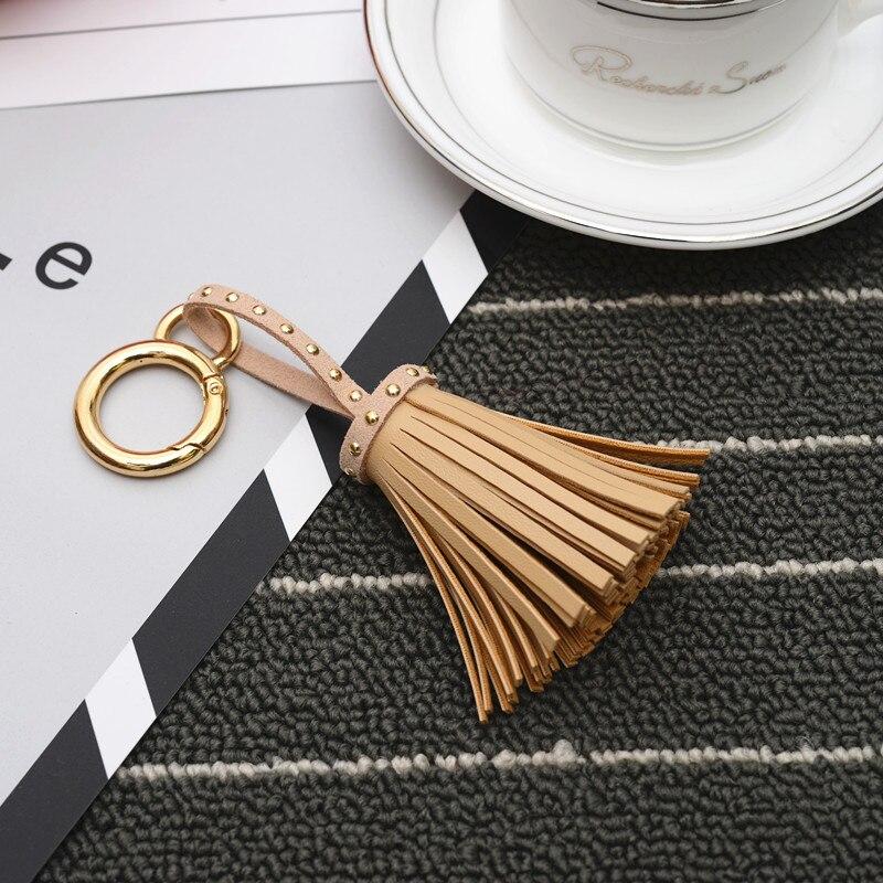 Felyskep New Korean Style PU Leather Tassels Keychains  For Women Bag Or Car Pendant Keyrings Jewelry 262WA