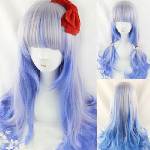 Hot Women's Mixed Silver Blue Color Highlights Wavy Curly Hair Cosplay Party Wig Prop Gift - Chineon Tech store