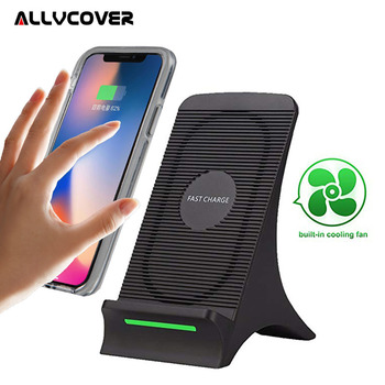 Allvcover QI Wireless Charger Stand 2 Coils with Cooling Fan for Samsung S9 S8 Plus Note 8 Standard Charge for iPhone X 8 Plus Зарядное устройство