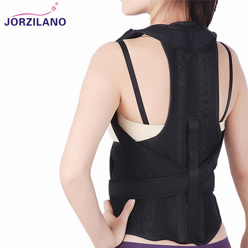 JORZILANO Adult Corset Back Posture Corrector Back Shoulder Lumbar Brace Spine Support Belt Posture Correction For Men Women back posture correction belt for children beige