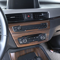 Pine Wood Grain For BMW X1 F48 20i 25i 25l 2016 2019 ABS Chrome Center AC Outlet Vent Cover Trim For BMW X2 F47 2018