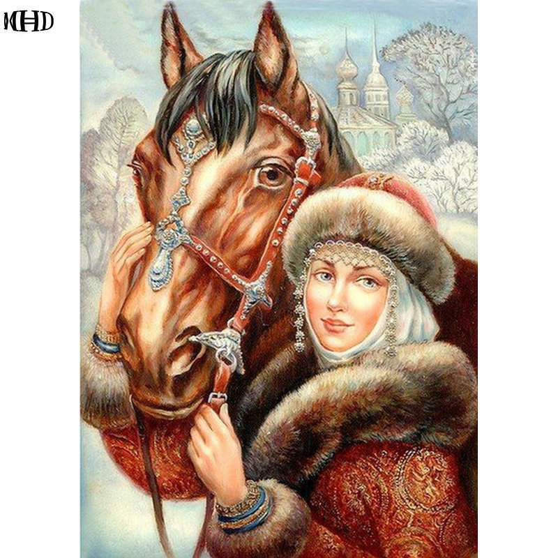 Diy diamond painting girl and horse rhinestone pasted cross stitch square diamond embroidery pattern handcraft crafts painting