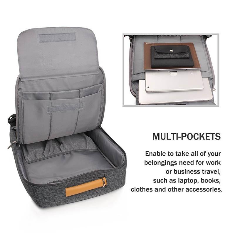 Gearmax portátil mochilas para 15,6 de 17,3 pulgadas/azul/Color gris de lona impermeable Mochila De Cuero genuino de la bolsa para Macbook portátil - 3