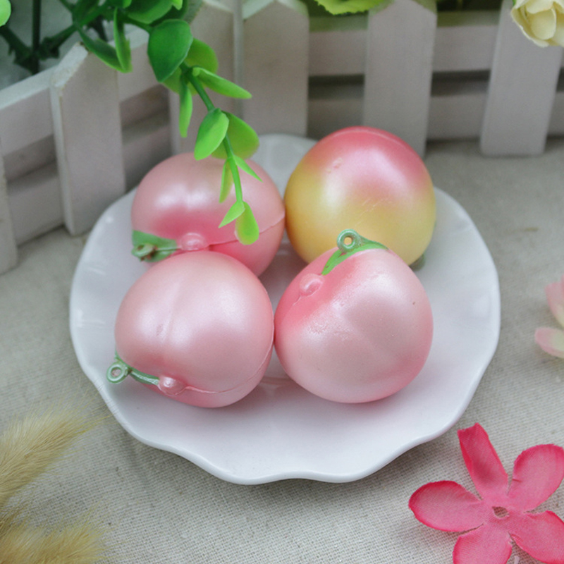 imágenes para Mini 4 cm Melocotón Rosado Blando Super Lento Aumento de Teléfono/Bolsas Encantos Squishies Correa de Frutas Niños Juguete