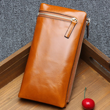 Fashion Women wallet 100% Genuine Leather Purse leather ladies purse in the first layer of zipper female