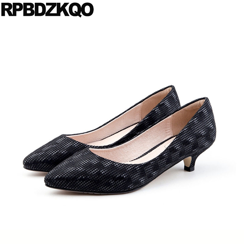 Pumps Women Black Big Size Low Heels High Medium Quality Designer Shoes Office Scarpin Pointed Toe Customized Suede Kitten 12 44