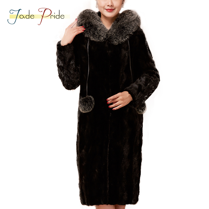 Jade-Pride 2017 Vogue Real Mink Fur Women Coats Winter Plus Size With Fur Hood Solid Shuba Black Office Lady Jackets Slim Parka