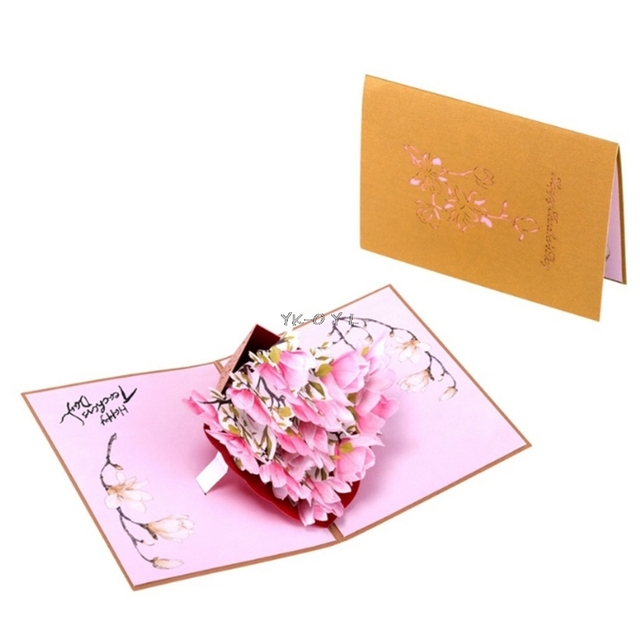 Hot Sell Magnolia Greeting Cards Handmade Birthday Wedding Invitation 3D Pop Up Card Art