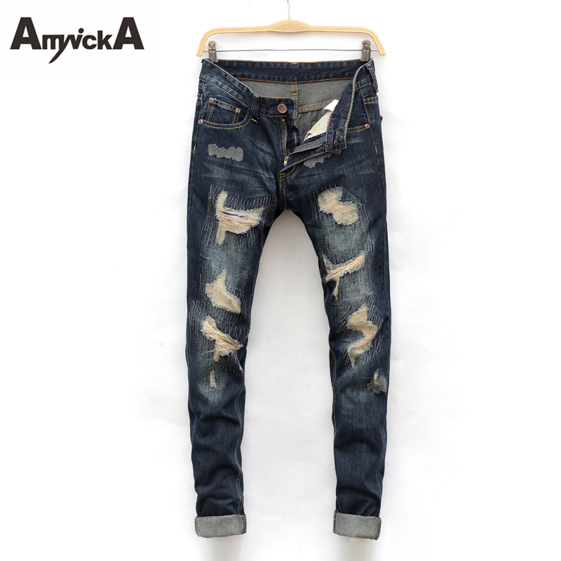 AmynickA ripped Jeans For Men Mid Waist Straight Hole Denim Jeans Male Boys Washed Casual Jeans Blue Size 28-38 JD-N887 envmenst 2017 male floral bottom blue hole ankle length jeans men s jeans casual zipper straight denim trousers size 28 40