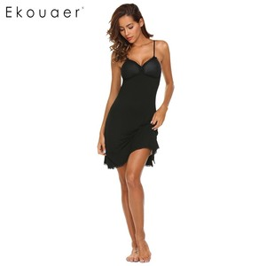 Image 5 - Ekouaer Lace Trim Nightwear Women Sexy Sleepwear Spaghetti Strap Padded Nightgown Lace Trim Babydoll Chemise Chest Pad Sleepwear