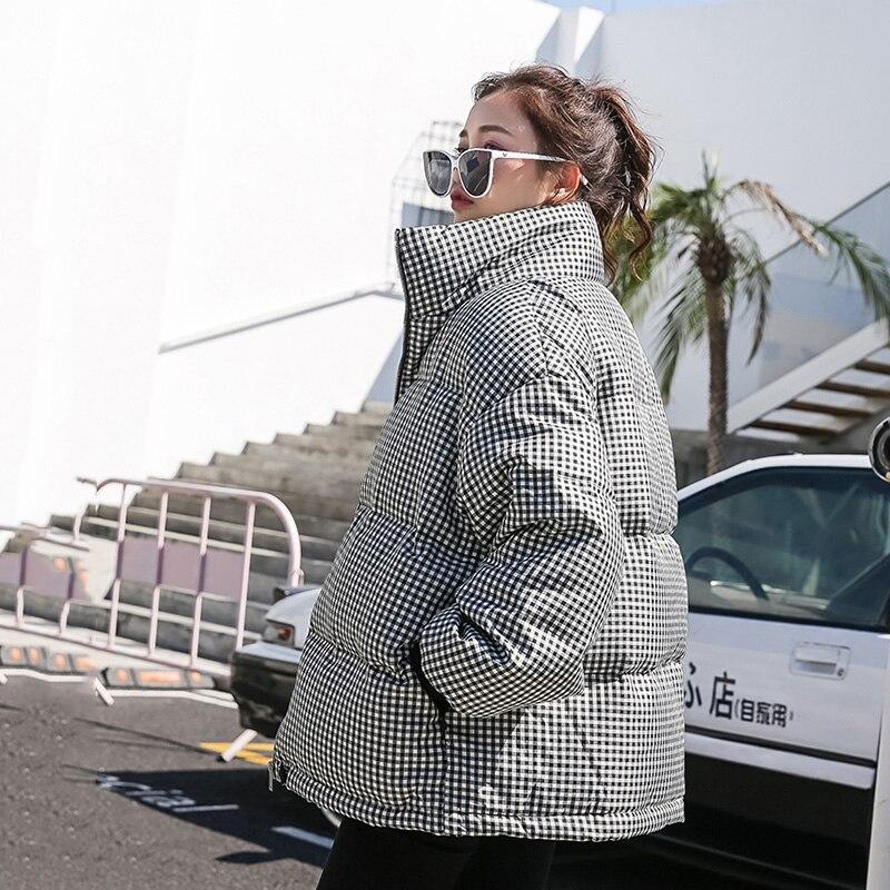 Fashion Denim Patchwork Winter Down Jacket Women Cotton Padded Coat Female   Parkas   2019 New Arrival Women's Plaid Winter Coats